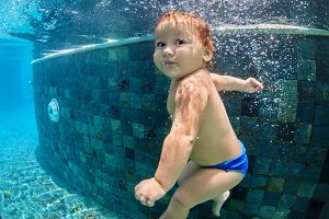 Funny underwater baby