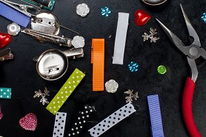Colorful beads hair clips and pliers