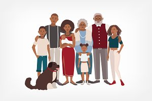 Happy large black family portrait