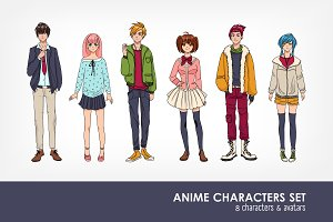 Set of cute anime characters avatar