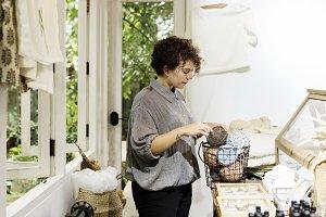 An entrepreneur in a clothe shop