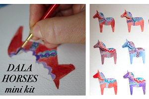 Watercolor Dala Horse Mini Kit