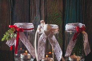 Christmas glass candlesticks