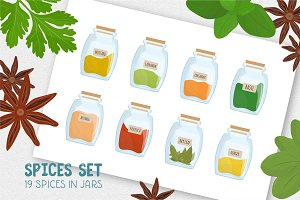 Set of 19 spices in jars