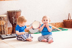 Boys with musical instruments