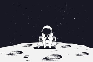 astronaut with mobile phone on Moon