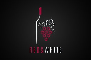 Wine bottle logo design.