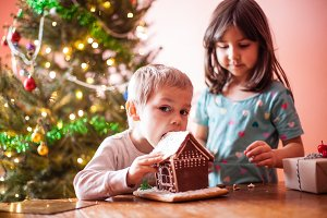 Little boy with gingerbread house
