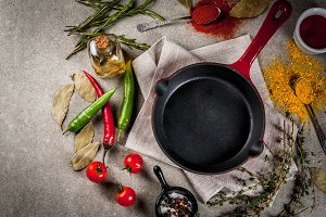 Culinary background with empty pan