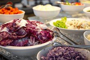 Buffet a variety of fresh salads