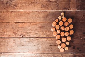 Wine corks on table