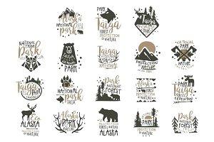 Alaska national park labels set. Forest protection hand drawn vector Illustrations