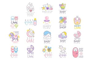 Baby care set for logo design, hand drawn vector Illustrations