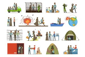 Stateless refugees, war victims set. Illigal immigrants vector illustrations