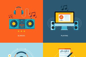 Flat Concept Icons For Music Industr