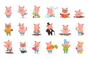 Little cartoon pigs characters posing in different situations set of vector illustrations