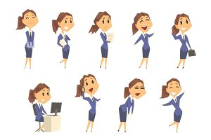 Set of cute businesswoman characters in different poses and emotions. Colorful cartoon vector Illustrations