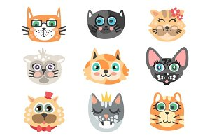Set of funny cartoon cats heads. Cats different breeds colorful character vector Illustrations