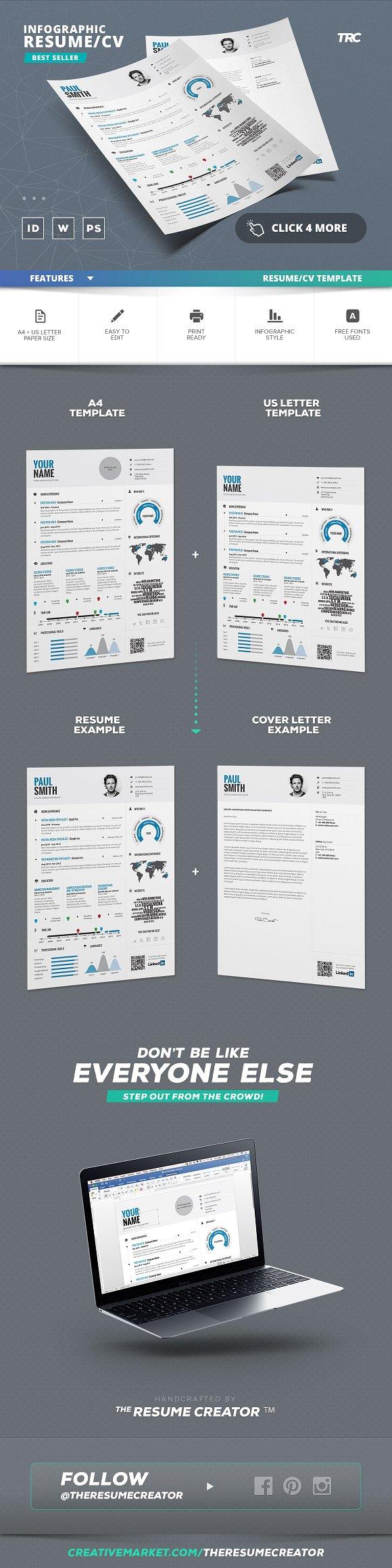 Infographic Resume/Cv Template Vol.1 ~ Resume Templates ~ Creative ...