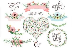 Pastel watercolor floral clipart