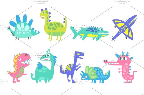 Funny Cartoon Dinosaurs Set Prehistoric Animal Characters Vector Illustrations