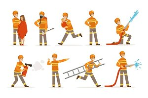 firefighters in orange uniform doing their job set. Fireman in different situations cartoon vector Illustrations