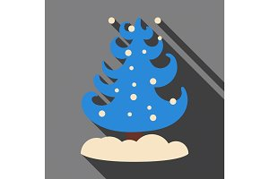 Flat icon with shadow Christmas tree