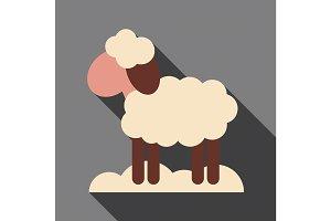 Flat icon with shadow Lamb farm animal