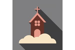 Flat icon with shadow church