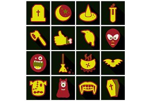 Set of Flat Icons with shadow Happy Halloween design elements