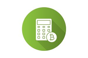 Bitcoin calculator flat design long shadow glyph icon