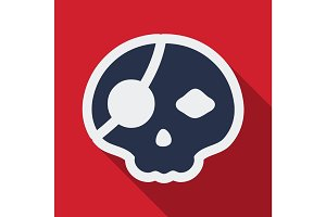 Flat icon with shadow pirate skull