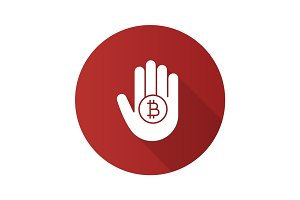Hand holding bitcoin flat design long shadow glyph icon