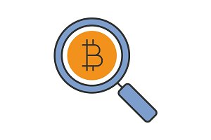 Bitcoin research color icon