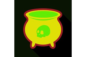 Flat icon with shadow cauldron with skull