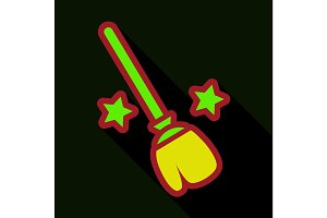 Flat icon with shadow stars broom