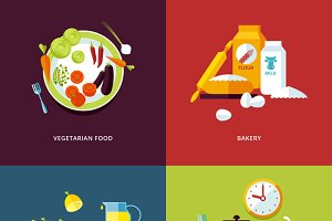 Flat Concept Icons Food and Drinks
