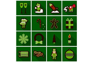 Set of Flat Icons with shadow Christmas design elements