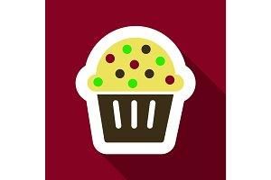 Flat Icon with shadow Christmas cupcake