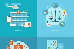 Flat Medical Icons Concepts