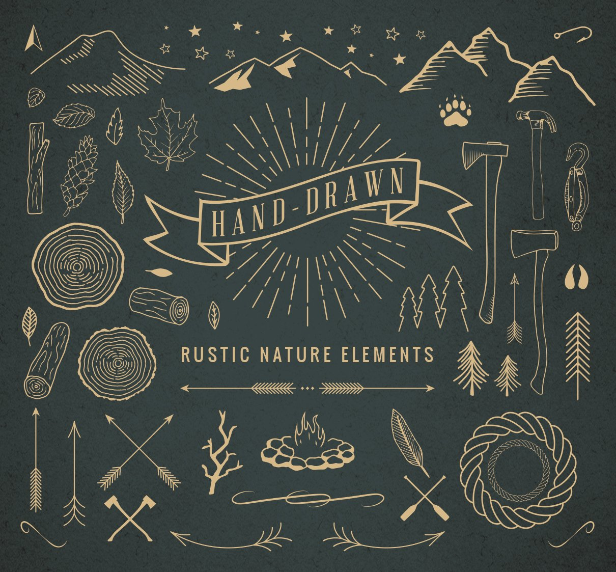 Hand Drawn Rustic Nature Elements Illustrations Creative Market