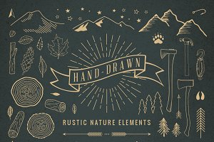 Hand-Drawn Rustic Nature Elements