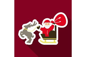 Flat Icon with shadow santa claus in sleigh