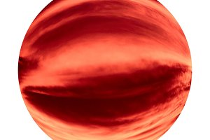red sky sphere isolated over white