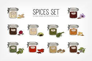 Set of spices stored in closed jars