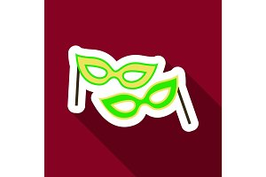 Flat Icon with shadow Carnival masks
