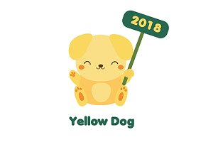 Cute yellow dog. New Year 2018 icon