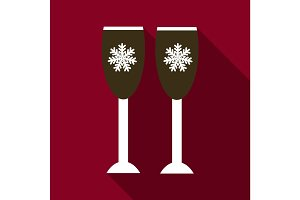Flat Icon with shadow Christmas wine glasses