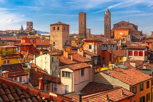 Aerial view of towers and roofs in Bologna, Italy