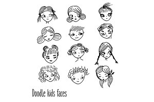 Doodle kids faces hand drawn avatars